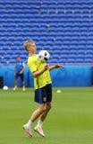 EURO 2016 DELL'UEFA: Addestramento della pre-partita dell'Ucraina a Lione Immagine Stock