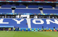 EURO 2016 DELL'UEFA: Addestramento della pre-partita dell'Ucraina a Lione Fotografie Stock