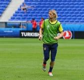 EURO 2016 DELL'UEFA: Addestramento della pre-partita dell'Ucraina a Lione Fotografia Stock Libera da Diritti