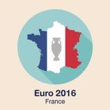 Euro della Francia 2016 logos Progettazione piana Fotografie Stock