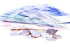 Euro della moneta sulle banconote Fotografia Stock