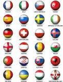 Euro 2016 delle bandiere di paesi europei del pallone da calcio Fotografia Stock Libera da Diritti
