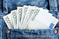 Euro in den Jeans Lizenzfreies Stockbild