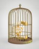 Euro dentro la gabbia di uccello Fotografie Stock Libere da Diritti