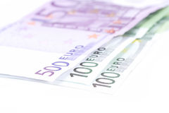 Euro- detalhe das notas de banco do dinheiro Fotografia de Stock Royalty Free