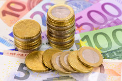 Euro devise et billets de banque Photographie stock