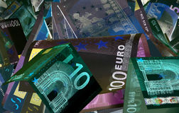 Euro devise et x28 ; billets de banque et x29 ; dans la protection de lumière UV Image stock