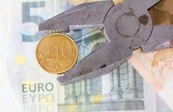 Euro devise pressée par la clé Images stock