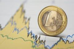 Euro devise sur le diagramme Image stock