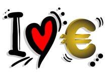 Euro di amore Fotografia Stock Libera da Diritti