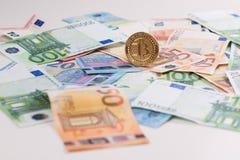 Euro di Bitcoin Fotografia Stock Libera da Diritti