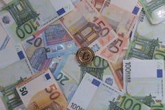 Euro di Bitcoin Immagine Stock Libera da Diritti