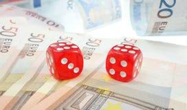 Euro dice money Royalty Free Stock Photos