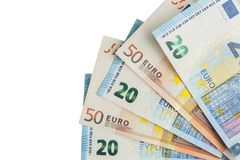Euro die bankbiljettenventilator op witte achtergrond wordt geïsoleerd Royalty-vrije Stock Foto's