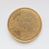 Euro die in de helft tegen oude achtergrond wordt gescheurd Stock Foto's
