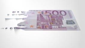 Euro die Druipend Bankbiljet smelten stock afbeeldingen