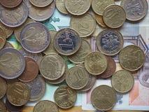 Euro die muntstukken door Litouwen worden vrijgegeven Stock Foto