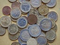 Euro die muntstukken door Litouwen worden vrijgegeven Stock Foto's
