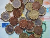 Euro die muntstukken door verschillende landen worden vrijgegeven Stock Afbeeldingen