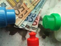 Euro, die oben nach Reinigung (Waschen, trocknen) Stockfotos