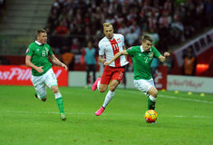 EURO 2016 die om Polen versus Rep kwalificeren van Ierland Stock Afbeelding