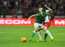 EURO 2016 die om Polen versus Rep kwalificeren van Ierland Stock Afbeeldingen