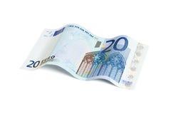 Euro die rekening twintig met het knippen van weg wordt geïsoleerd Royalty-vrije Stock Foto