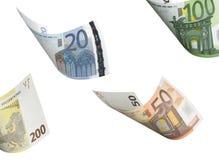 Euro die rekeningscollage op wit wordt geïsoleerd Stock Fotografie