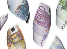 Euro die rekeningscollage op wit wordt geïsoleerd Royalty-vrije Stock Afbeeldingen