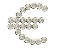Euro die symbool van muntstukken wordt gemaakt Stock Foto's