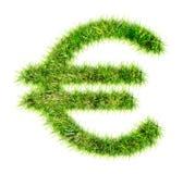 Euro die teken van groen gras wordt gemaakt Stock Afbeeldingen