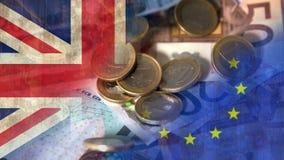 Euro die Video vallen stock footage