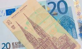 Euro - dinar fotografía de archivo