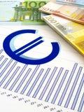 Euro- dinheiro e gráfico - relatório de negócio Foto de Stock Royalty Free