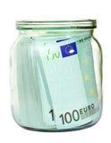Euro- dinheiro em um frasco Fotos de Stock Royalty Free