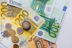 Euro- dinheiro euro- fundo do dinheiro Euro- notas com reflexão Fotografia de Stock Royalty Free