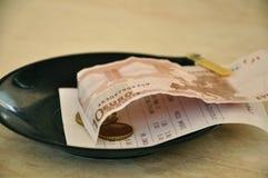 Euro. Dining check and Euro banknotes royalty free stock photo