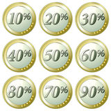 Euro discount buttons. Set of Euro coins with different percentage discounts, white background Stock Photos