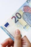 Euro 20 a disposizione Fotografia Stock Libera da Diritti