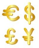 Euro, dólar, libra e ienes Foto de Stock Royalty Free