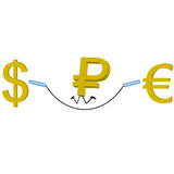 Euro do dólar do rublo Fotos de Stock Royalty Free