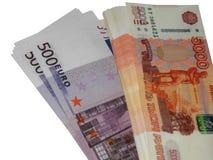 Euro do dinheiro com um pacote de 5000 rublos Imagem de Stock Royalty Free