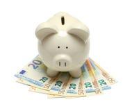 Euro do mealheiro Imagens de Stock Royalty Free