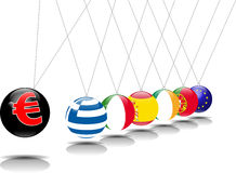 Euro do pêndulo de Newton Fotografia de Stock