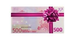 Euro do presente 500 do dinheiro Fotografia de Stock Royalty Free