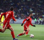 EURO do UEFA 2016 Espanhas de qualificação de Ucrânia v do jogo Foto de Stock