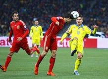 EURO do UEFA 2016 Espanhas de qualificação de Ucrânia v do jogo Fotografia de Stock