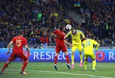 EURO do UEFA 2016 Espanhas de qualificação de Ucrânia v do jogo Imagens de Stock