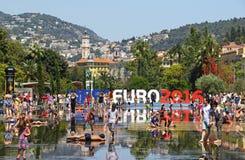 EURO do UEFA 2016 letras em Passeio du Paillon em agradável, França Foto de Stock