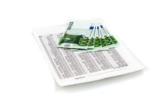 Euro with document. Bond of euro on top white document royalty free stock image